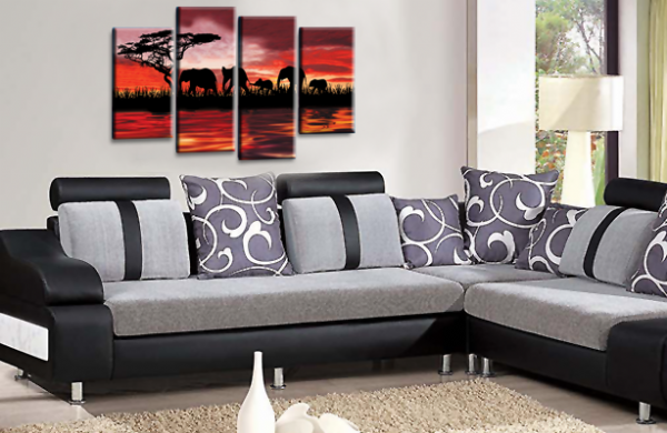 Sunset Elephant Canvas Wall Art Picture Orange Red Brown Cream